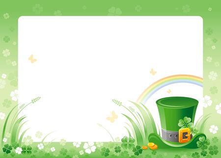 patrick day: Happy Saint Patrick day. Leprechaun hat border corner, isolated white background. Shamrock clover leaves frame, rainbow, green grass. Traditional for Northern Ireland celtic holiday. Template poster.
