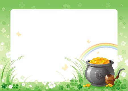 patric: Happy Saint Patrick day. Pot of Leprechaun gold border corner, isolated white background. Green shamrock clover leaf frame, rainbow. Traditional for Northern Ireland celtic holiday. Template poster. Illustration