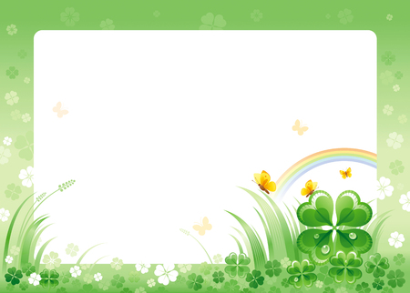 patrick day: Happy Saint Patrick day border corner, isolated white background. Irish shamrock clover leaves frame, rainbow, green grass, copyspace. Traditional for Northern Ireland celtic holiday. Template poster.
