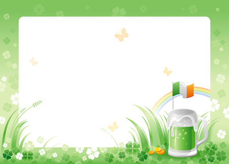 patrick day: Happy Saint Patrick day. Green beer drink border corner, Irish flag isolated white background. Shamrock clover leaves frame, rainbow. Traditional for Northern Ireland celtic holiday. Template poster.