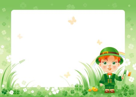 patrick day: Happy Saint Patrick day. Irish dress baby boy border corner, isolated white background. Shamrock clover frame, rainbow, green grass. Traditional for Northern Ireland celtic holiday. Template poster.