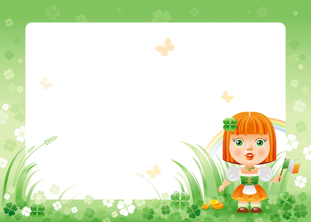 patrick day: Happy Saint Patrick day. Irish dress baby girl border corner, isolated white background. Shamrock clover frame, rainbow, green grass. Traditional for Northern Ireland celtic holiday. Template poster. Illustration