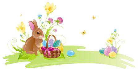 colored egg: Happy Easter horizontal banner border. Spring landscape bunny rabbit, colored egg, crocus clover flower, grass, butterfly. Springtime nature. Vector illustration background. Greeting card Illustration