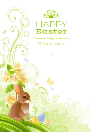 colored egg: Happy Easter Spring nature vector poster isolated white background, colored egg, bunny, sakura cherry blossom. Holiday watercolor pattern. Floral corner. Abstract illustration template, text lettering