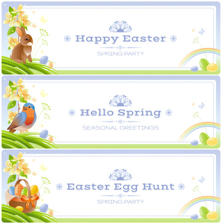 Happy Easter Spring nature vector banner set, isolated white background. Color egg, bunny, cherry flower, robin bird. Eggs hunt party. Holiday watercolor border poster. Illustration, text lettering