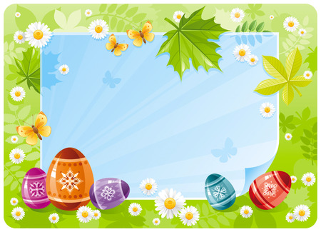 springtime: Happy Easter banner border. Spring scene, green grass, blue sky, rainbow egg, daisy, leaf. Springtime nature. Paper sheet copyspace. Vector illustration. Flat greeting card background. Template design