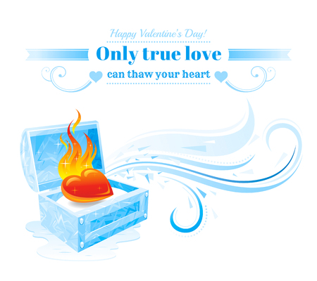 Happy Valentines day vector illustration, burning heart fire melts frozen ice snow box. Romance, love banner, isolated wave pattern, white background. Cute romantic Valentine border. Text lettering