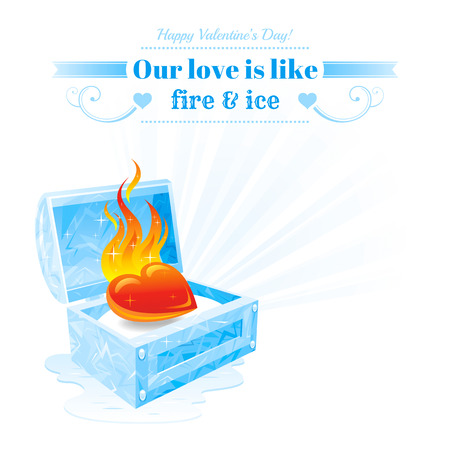 fire and ice: Happy Valentines day vector illustration, burning heart fire melt frozen ice chest. Romance love banner, isolated frame white background ray. Romantic Valentine border. Abstract design. Text lettering Illustration