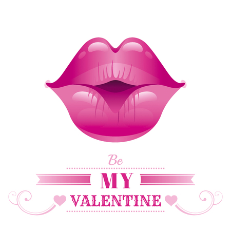 Happy Valentines day romance love text lettering, isolated border white background. Cute romantic passion vector illustration. Sexy kissing girl lips icon, lipstick. Greeting card. Flat cartoon sign Illustration