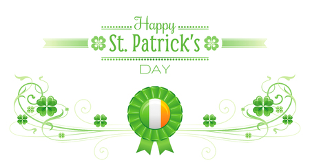patrick day: Happy Saint Patrick day border banner, isolated white background. Irish shamrock clover leaves frame, text lettering logo, flag prize icon. Traditional Northern Ireland celtic holiday day poster