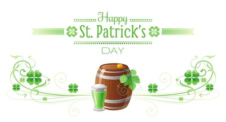 patric icon: Happy Saint Patrick day border banner, isolated white background. Irish shamrock clover, green leaf frame, text lettering logo, icon. Traditional Northern Ireland celtic poster