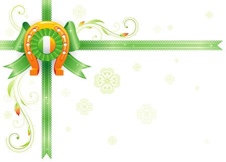Golden lucky horseshoe corner. Ribbon bow decoration. Happy Saint Patrick day border banner, isolated white background. Irish flag, shamrock icon, plant frame. Northern Ireland celtic holiday poster