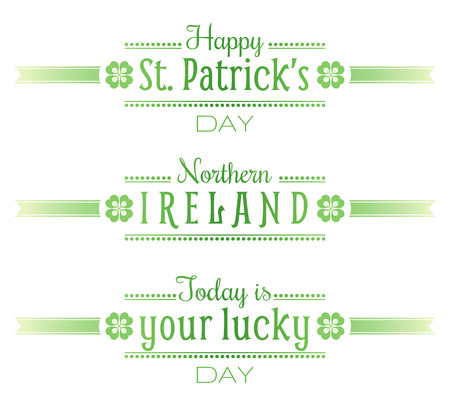 patric banner: Northern ireland national St. patrick day text lettering logo isolated on white background Illustration