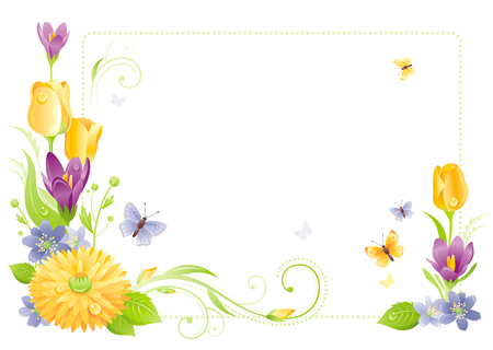 tulips in green grass: Flower frame isolated white background. Spring summer nature vector illustration. Floral border. Crocus tulip snowdrop chrysanthemum bouquet. Template poster. Mothers day Birthday Wedding invitation Illustration