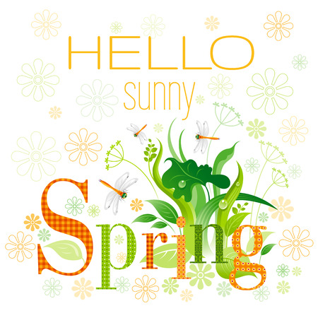 grass close up: Hello sunny Spring text lettering floral background. Beautiful nature, floral swirls, leafs, green grass, flower, orange dragonfly, isolated on white background. Square garden vector illustration
