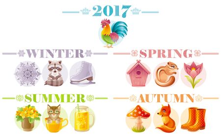 amanita: Calendar 2017 icon set. Cute cartoon nature icons. Cat fox squirrel cock raccoon flower nesting box smoothie. Text lettering abstract design. Poster flyer template. Baby kids four seasons symbol
