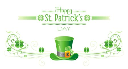 patrick day: Happy Saint Patrick day border banner, isolated white background. Irish shamrock clover leaf frame, text letter, leprechaun hat icon. Traditional Northern Ireland celtic holiday poster