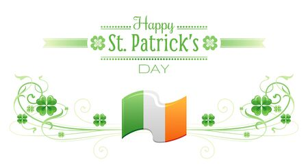 patric banner: Happy Saint Patrick day border banner, isolated white background. Irish shamrock clover, green leaf frame, text lettering logo, flag icon. Traditional Northern Ireland celtic holiday poster