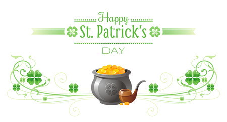 patric banner: Happy Saint Patrick day border banner, isolated white background. Irish shamrock clover, green leaf frame, text lettering logo, gold pot pipe icon. Traditional Northern Ireland celtic poster
