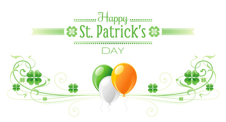 patrick day: Happy Saint Patrick day border banner, isolated white background. Irish shamrock clover, green leaf frame, text lettering logo, flag balloon icon. Traditional Northern Ireland celtic poster Illustration