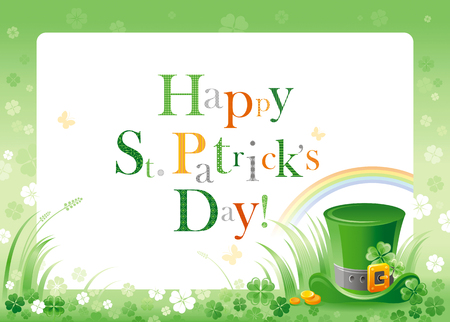 patrick day: Happy Saint Patrick day. Leprechaun hat border flyer, isolated white background. Shamrock clover leaves frame, rainbow, green grass. Traditional Northern Ireland celtic holiday. Text lettering logo