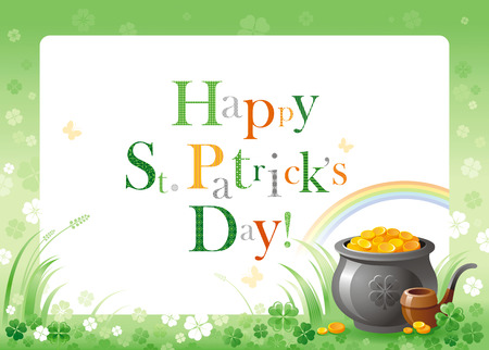 Happy Saint Patrick day. Pot of Leprechaun gold border flyer, isolated white background. Green shamrock clover leaf frame, rainbow. Traditional Northern Ireland celtic holiday. Text letter logo poster