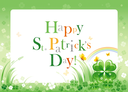 northern ireland: Happy Saint Patrick day border flyer, isolated background. Irish shamrock clover leaf frame, rainbow, green grass, copyspace. Traditional Northern Ireland celtic holiday. Text letter logo poster. Illustration