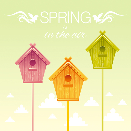 nesting box: Nesting box birdhouse spring landscape vector illustration. Sunny sky square view. Text lettering flat logo with flying starling birds, clouds. Nature cartoon poster banner.
