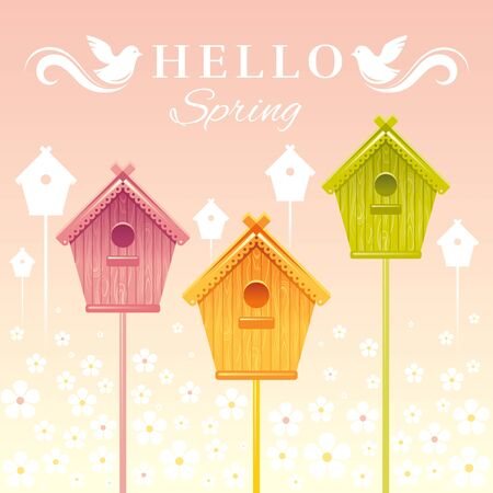 nesting box: Nesting box birdhouse spring landscape vector illustration. Sunny sky view, wave lines pattern. Text lettering flat logo with flying starling birds. Nature cartoon poster.