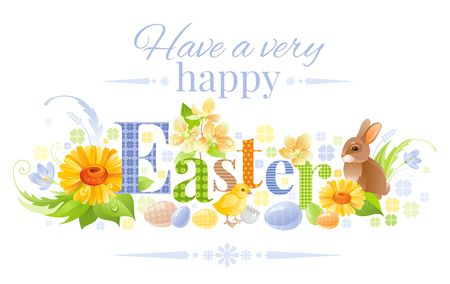 Happy Easter horizontal logo banner. Spring landscape bunny rabbit, chicken, egg, daisy flower, blue crocus, grass. Springtime nature. Text lettering. Vector illustration background Greeting card