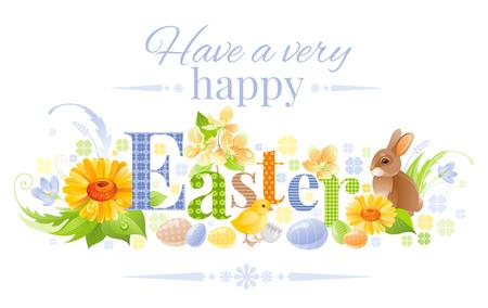 Happy Easter horizontal logo banner. Spring landscape bunny rabbit, chicken, egg, daisy flower, blue crocus, grass. Springtime nature. Text lettering. Vector illustration background Greeting card