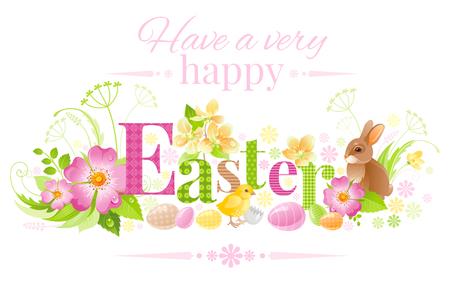 Happy Easter horizontal logo banner. Spring landscape bunny rabbit, chicken, egg, rose flower, blue crocus, grass. Springtime nature. Text letter. Vector illustration background Modern greeting card
