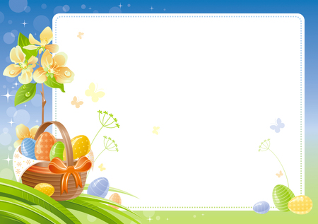Happy Easter Spring nature vector poster isolated, white background, color eggs hunting basket, cherry blossom. Holiday watercolor pattern. Floral corner. Abstract illustration template frame border