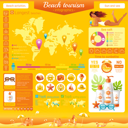 Summer beach travel icon set infographics diagram. Happy family sea vacation icons background. People traveling - tourism, world map, diving, surfing, ship sailing, sun protection vector illustration