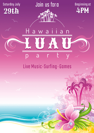 Evening beach sea flyer, hawaiian luau party. Watercolor hibiscus flower vector illustration. Aloha Hawaii design, summer holidays vacation banner. Vacation poster. Tropical island travel logo icon Illustration