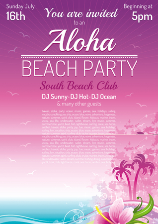white wave: Evening beach party, sea poster, traditional Aloha hawaiian party. Beautiful grunge hibiscus flower vector illustration. Summer holidays vacation flat banner. Tropical Hawaii island travel logo icon