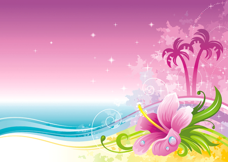 Beach sea poster landscape, hawaiian luau party. Watercolor hibiscus flower vector illustration. Summer holidays vacation banner. Vacation tropical island, palm tree travel icon