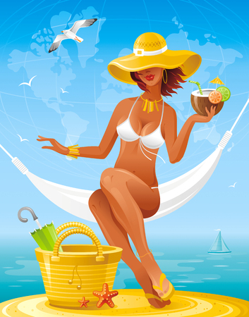 Sea beach people travel banner, summer holidays symbol. World map background. Concept vector illustration bag, starfish, parasol, sexy young girl relaxing in hammock, hawaiian luau party cocktail