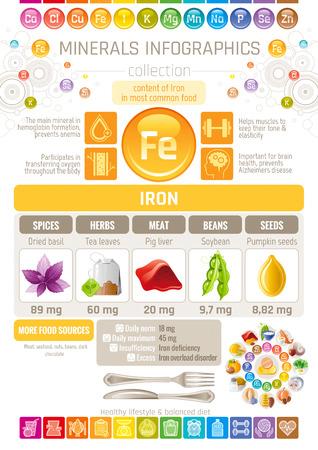 철 광물은 풍부한 음식 아이콘을 보충합니다. 건강 한 먹는 평면 아이콘 집합, 텍스트 문자 로고, 격리 된 배경. 다이어트 Infographics 차트 배너 포스터.