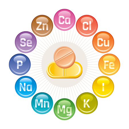 Mineral Vitamin supplement icons, calcium, iron, iodine, sodium, potassium, magnesium, selenium, zinc, phosphorus. Illustration