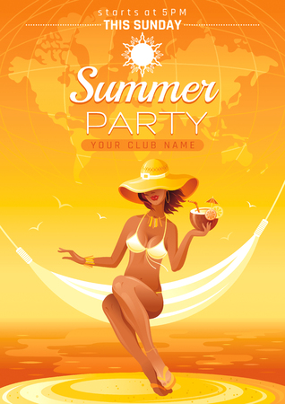 Summer party invitation flyer design. Sea beach landscape background. Sexy young girl travel.