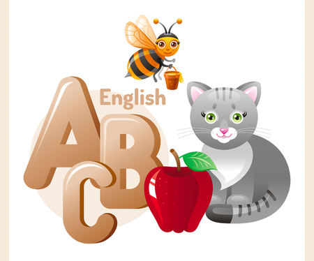 Vector illustration. English alphabet ABC icon. Abstract design template with cat, bee, apple, A, B, C letters