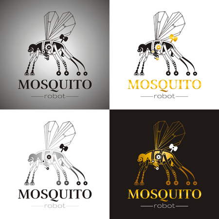 Cybernetic Robot Mosquito Drone Logo Icon Set Vector Steampunk Cyborg Flying Animal Futuristic Vintage
