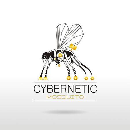 hight tech: Cybernetic robot mosquito logo icon. Vector steampunk animal. Vintage insect monster illustration. Text lettering, silver background. Poster banner, retro design element, black golden nano silhouette
