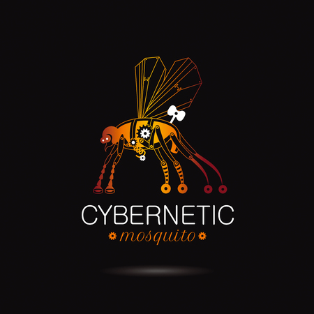 Cybernetic robot mosquito logo icon. Vector steampunk cyber flying animal. Futuristic vintage insect monster illustration. Text lettering on black background. Nano technology ecologycal symbol