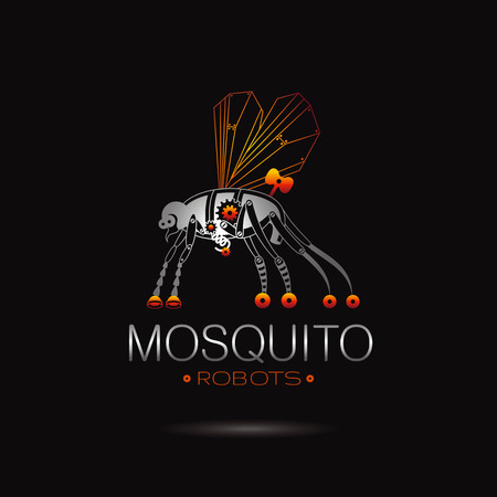 Cybernetic robot mosquito logo icon. Vector steampunk cyborg animal. Futuristic vintage insect monster illustration. Text lettering on black background. Nano technology placard poster design template Illustration