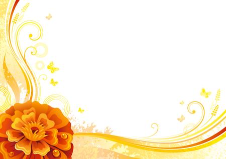マリーゴールドの花と秋の背景、落ちる葉、蝶、抽象的な波のライン、まんじ、グランジ パターン、コピーのテキストのための領域。エレガントな  イラスト・ベクター素材