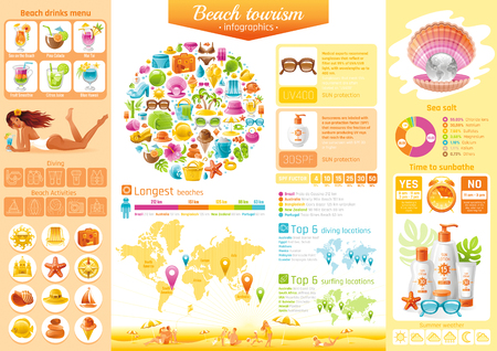 Summer beach travel icon set infographics diagram. Sea vacation icons, isolated background. People tourism symbol, world map - America, Australia, Europe, Africa, Asia diving, surfing location Illustration