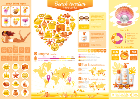 Summer beach travel icon set infographics diagram. Sea vacation icons, isolated background. People traveling - tourism symbol, world map, pearl, diving, surfing, ship sailing, yachting, sun protection