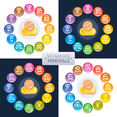 Mineral Vitamin supplement icons, a, b, c, d, e, calcium, iron, iodine, sodium, potassium, magnesium, selenium, zinc, phosphorus. Flat logo, isolated background. Diet infographic vector illustration